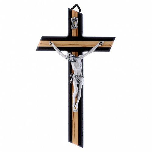 Crocifisso wengé in legno di olivo moderno con corpo metallico 21 cm s1
