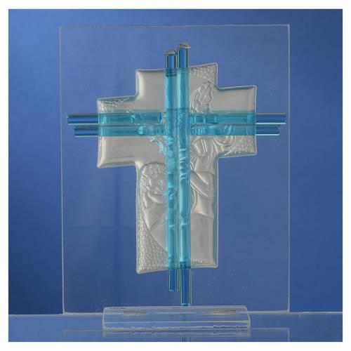 Croix anges verre Murano aigue-marine et argent h 14,5 cm s4
