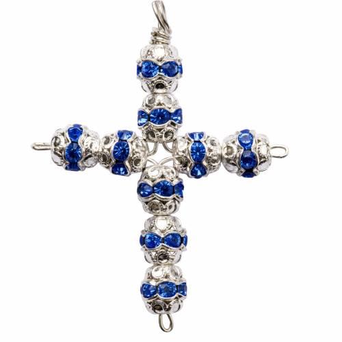 Croix argent et strass bleu ciel 6 mm s1