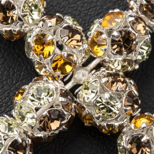 Croix argent strass multicolore 8 cm s3