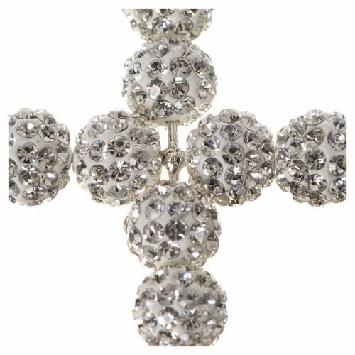 Croix avec perles Swarovski blanches 5x4 cm s2