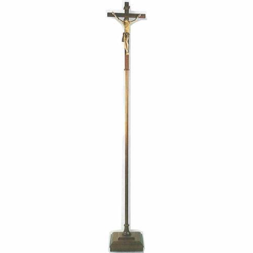 Croix de procession bois h 180 cm avec base s1