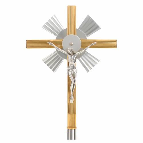 Croix de procession rayons bicolore s1