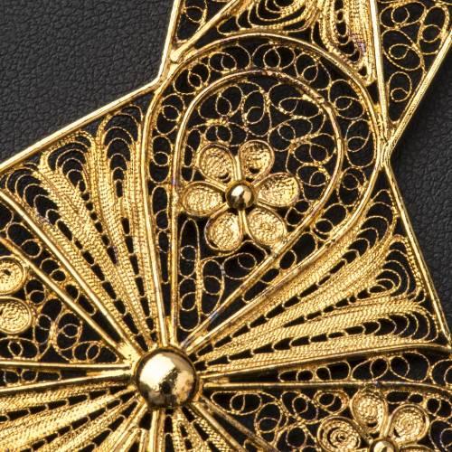 Croix épiscopale filigrane d'argent 800 doré s6