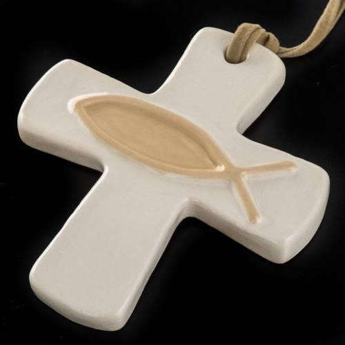 Croix ivoire poisson beige en céramique artistique s2