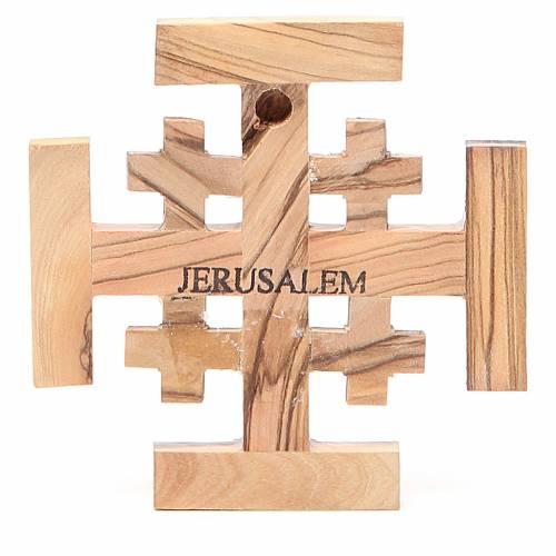 Croix Jérusalem bois d'olivier de la Terre Sainte 8 cm s2