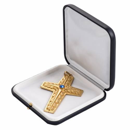 Croix pectorale cuivre doré ciselé pierre bleue s5