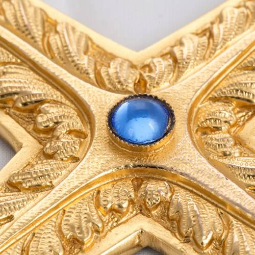 Croix pectorale cuivre doré ciselé pierre bleue s3