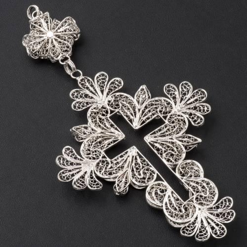 Croix pectorale en argent 800 filigrane s8