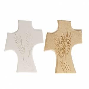 Icônes, tableaux et statuettes: Croix première communion argile blanche et or 15 cm
