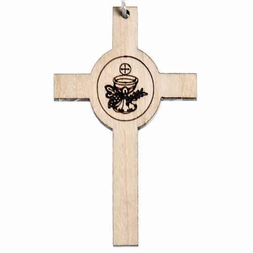 Croix première communion bois, calice hostie s1
