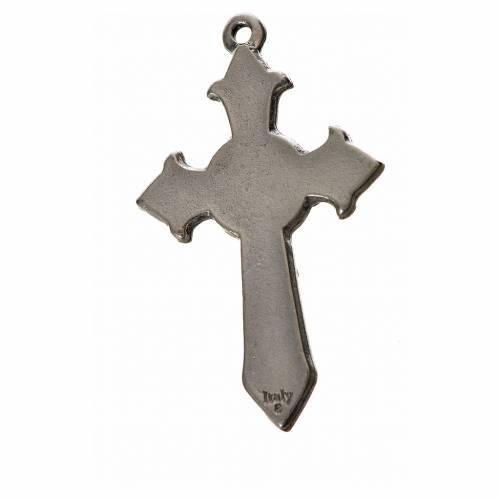 Croix Saint Esprit avec pointes 4,5x2,8 zamac émail blanc s2