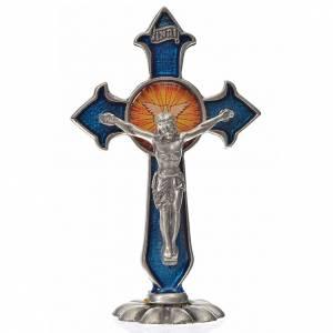 Crucifix à poser: Croix Saint Esprit pointes à poser 7x4,5 cm zamac émail bleu