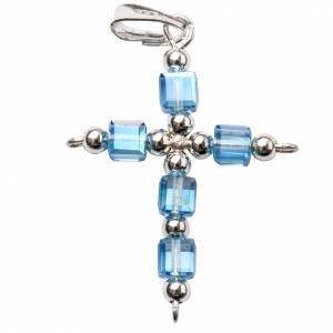 Croix Swarovski bleu ciel cubique s1