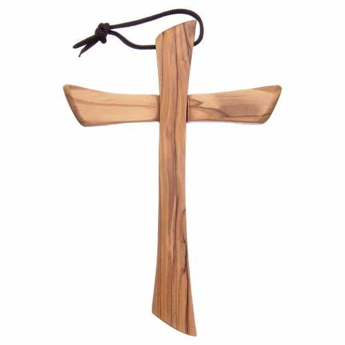 Croix terre sainte, bois d'olivier naturel bord arrondi s2