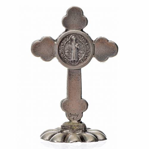 Croix trilobée Saint Benoît à poser 5x3,5 cm zamac émail noir s2