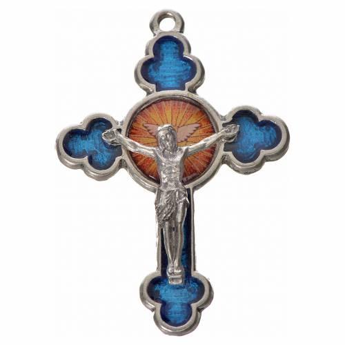 Croix trilobée Saint Esprit, 4,8x3,2 zamac émail bleu s1