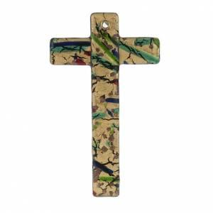 Croix verre de Murano feuille d'or multicolore s1