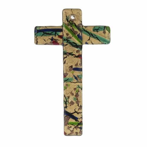 Croix verre de Murano feuille d'or multicolore 1
