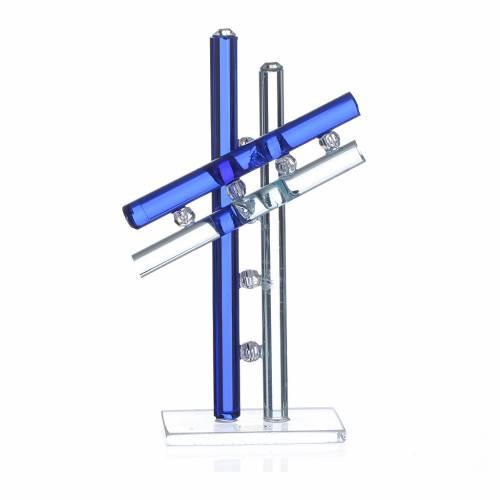 Croix verre Murano bleu h 12 cm s1