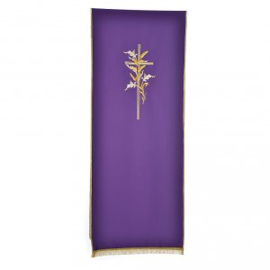 Cross & ears of wheat pulpit cover, polyester s2
