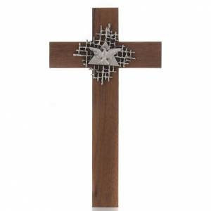 Wooden crucifixes: Cross in walnut wood with Father and Holy Spirit