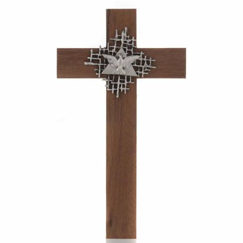 Cross in walnut wood with Father and Holy Spirit s1