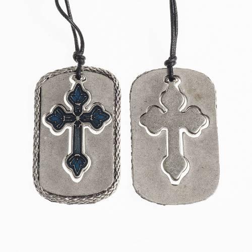 Cross pendant, light blue enamel s1