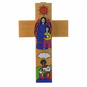 Cross with Guardian angel in enamelled wood s1