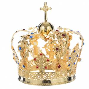 Crown in gold plated brass with floral decorations s2