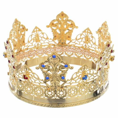 Crown in gold plated with blue and red strass s4