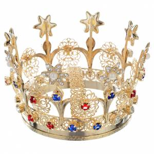 Crowns and halos for religious statues: Crown with flowers and strass decorations