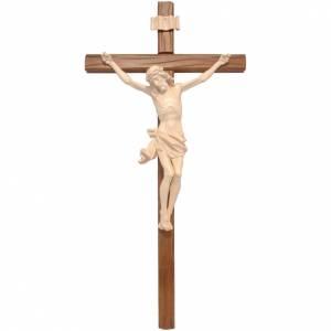 Crucifijo, cruz recta madera Valgardena encerada, modelo Corpus s1