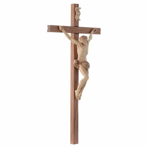 Crucifijo cruz recta tallada modelo Corpus, madera Valgardena va s3