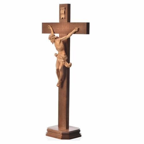 Crucifijo de mesa cruz recta Corpus Valgardena patinado s2