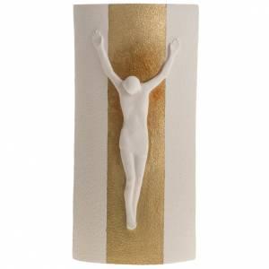 Crucifijos cerámica arcilla porcelana: Crucifijo Estrellas arcilla blanca y oro con luz 29,5 cm.
