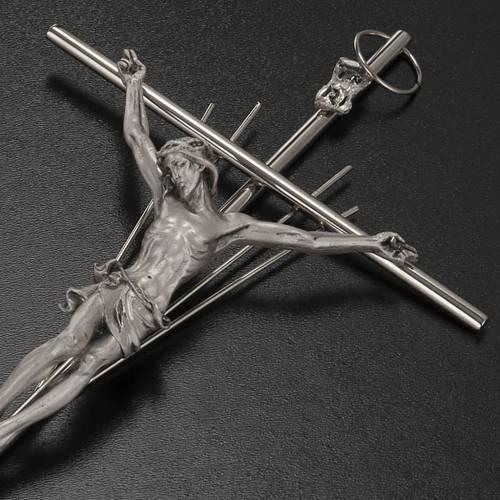 Crucifijo metal plateado con rayos s3