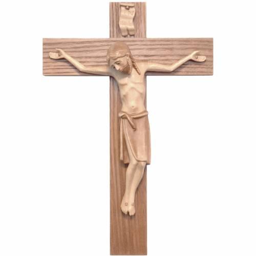 Crucifijo románico, madera Valgardena varias patinaduras s1