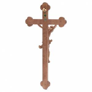 Crucifijo trilobulado Corpus, madera Valgardena patinada s4