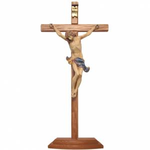 Crucifix à poser bois Ancien Or croix sculptée 42cm s1