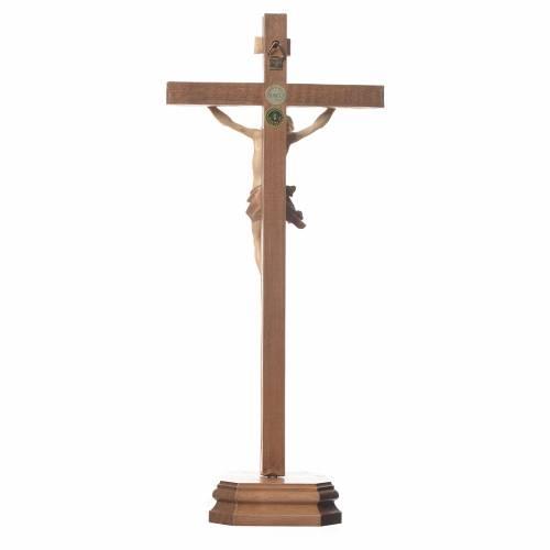 Crucifix à poser sculpté bois patiné multinuances mod. Corpus s3
