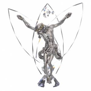 Bonbonnières: Crucifix avec strass blancs h 21 cm