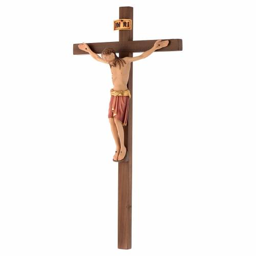 Crucifix bois peint Corps style Saint Damien s2
