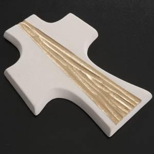 Crucifix Confirmation stylisé argile blanche cm 15 s3