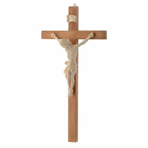 Crucifix croix droite Corps du Christ bois naturel s2