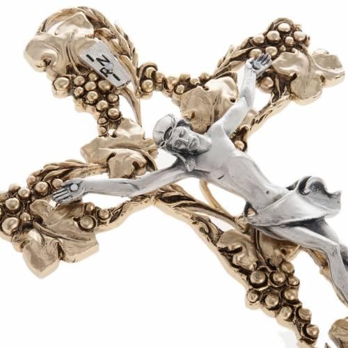 Crucifix doré argenté raisins 24 cm s4