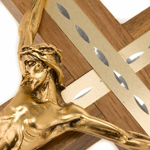 Crucifix in light walnut wood and aluminium with golden metal bo s4