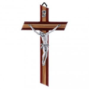 Wooden crucifixes: Crucifix modern in padouk wood and olive wood with silver body 21 cm