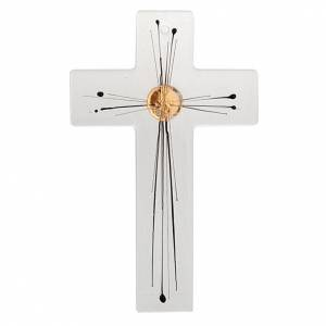 Crucifix moderne verre corps rayons s1