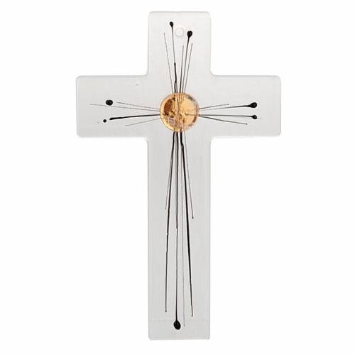 Crucifix moderne verre corps rayons 1